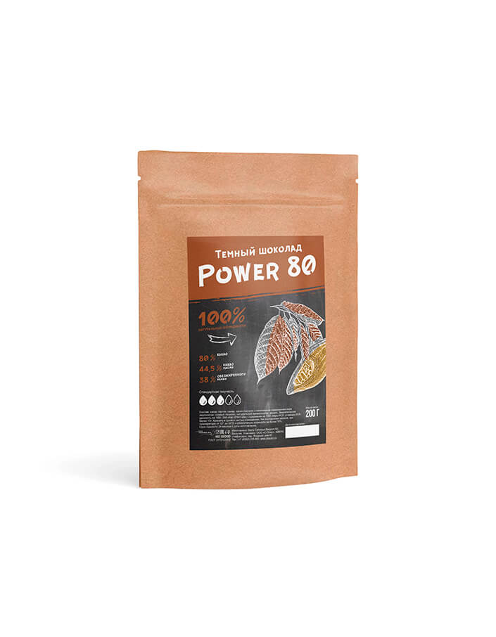 Горький шоколад Callebaut Power 80 в упаковке 0.2 кг